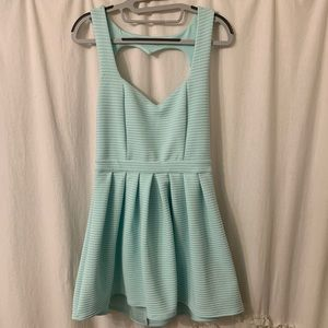 Couture Open Back V-Neck Dress - baby blue